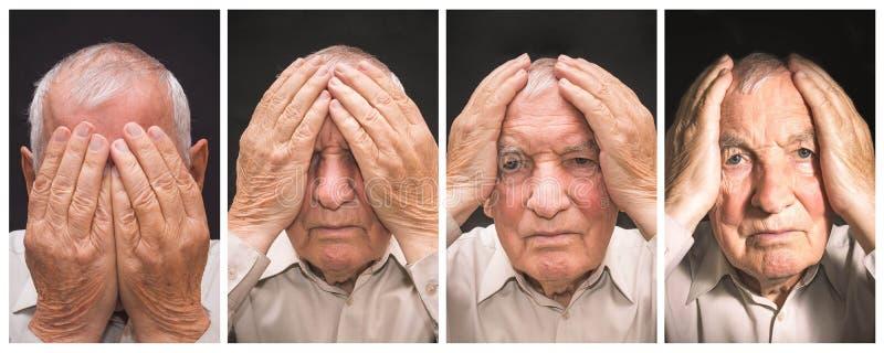 Portret van een bejaarde met gezicht door handen wordt gesloten die royalty-vrije stock foto's