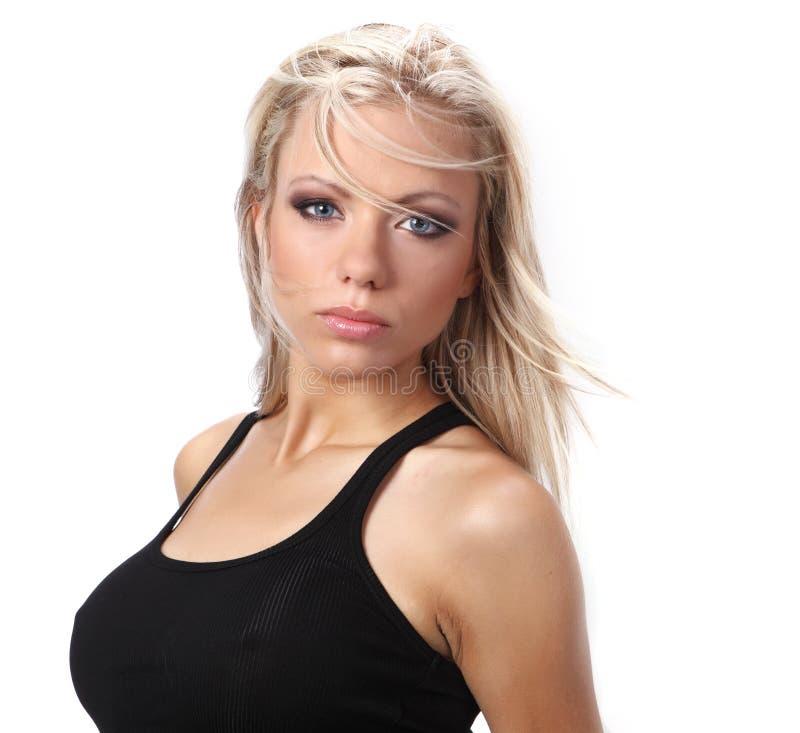Portret van een blonde vrouw. stock afbeelding