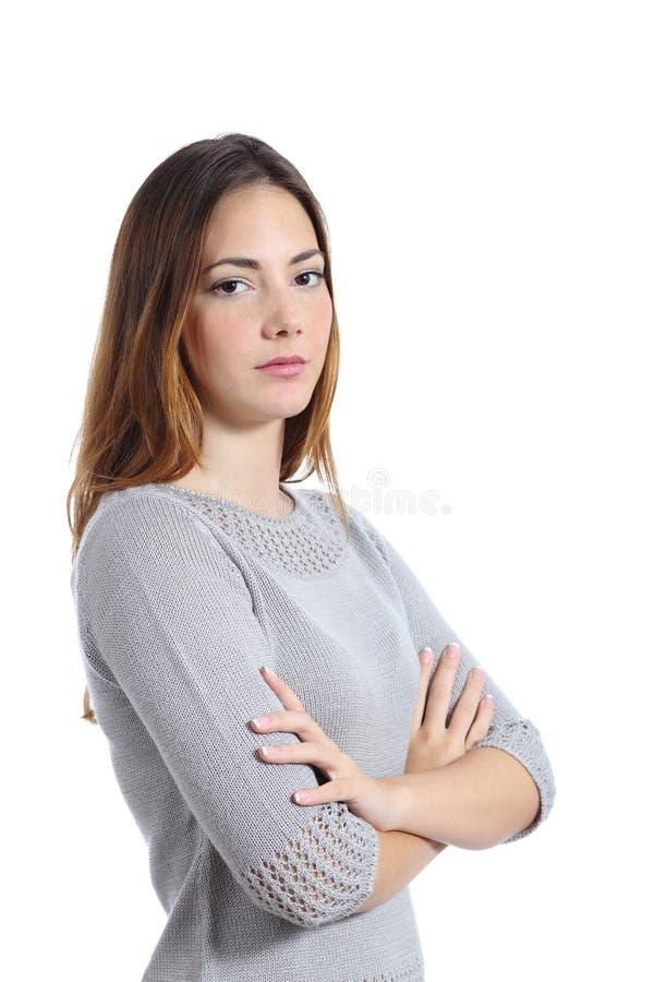 Portret van een boze ernstige vrouw stock foto's