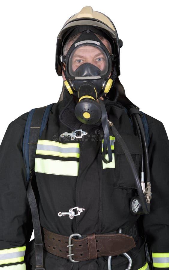Portret van een brandbestrijder in ademhalingsapparaten royalty-vrije stock foto's