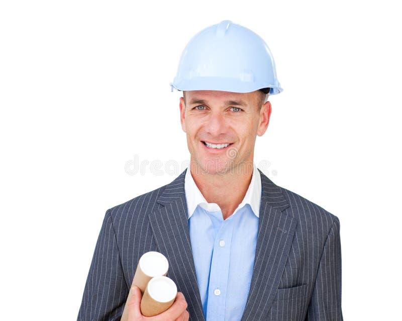 Portret van een charismatische mannelijke ingenieur royalty-vrije stock afbeelding