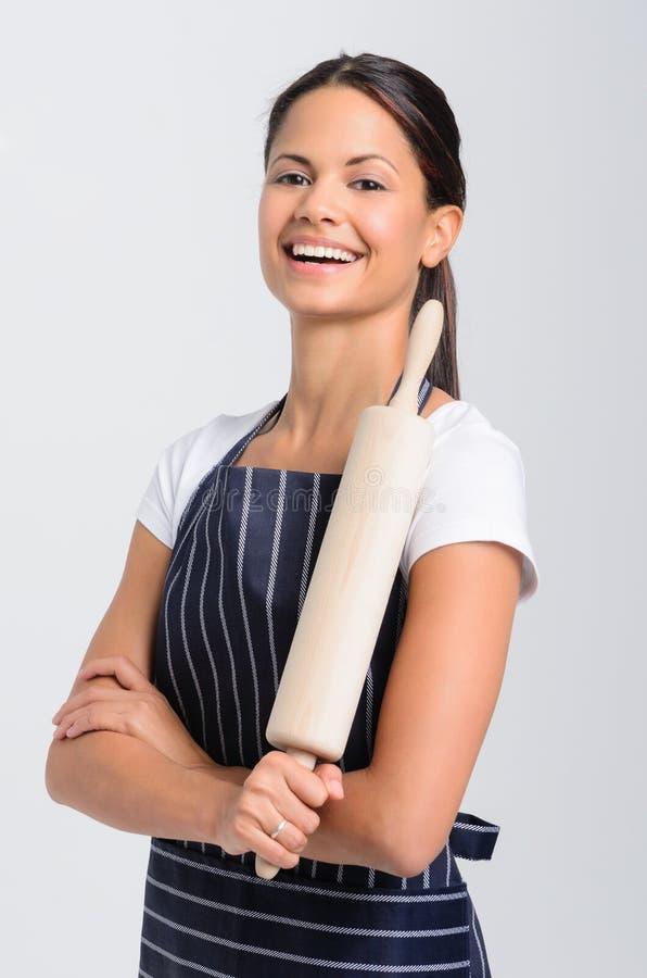 Portret van een de bakkersberoeps van de vrouwenchef-kok royalty-vrije stock afbeelding
