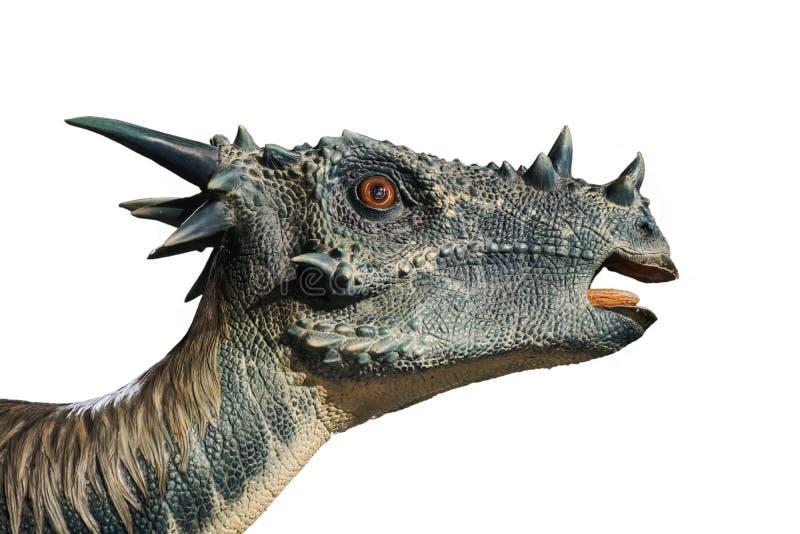 Portret van een dinosaurus stygimoloch op witte achtergrond wordt geroepen die royalty-vrije stock afbeelding