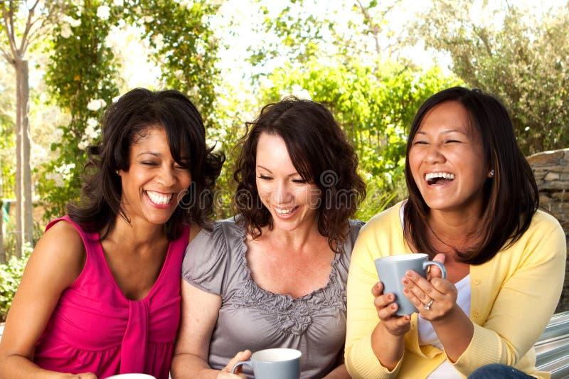 Portret van een diverse groep en vrienden die lachen spreken stock foto