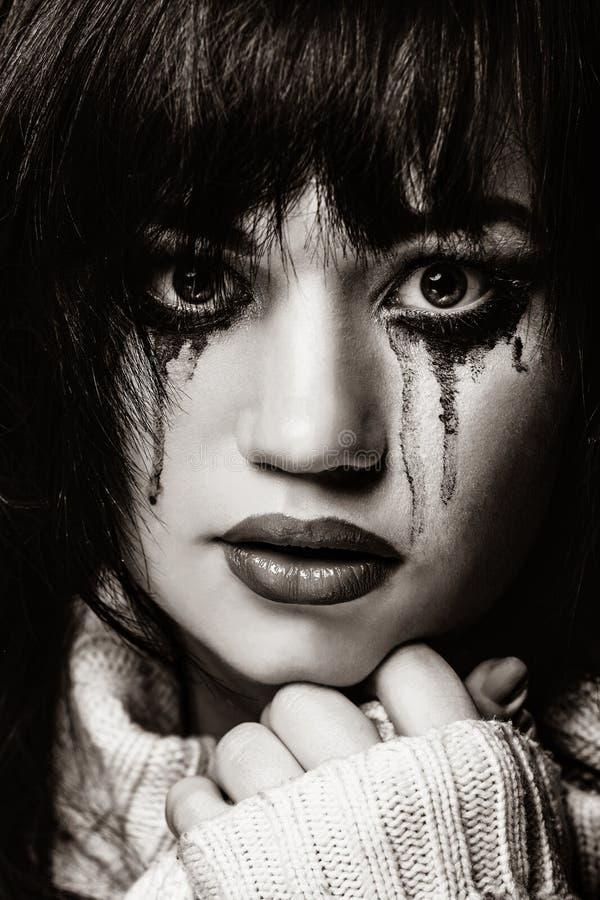 Portret van een droevig brunette royalty-vrije stock fotografie