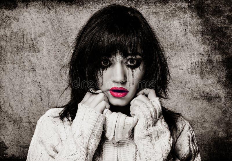Portret van een droevig brunette royalty-vrije stock foto's