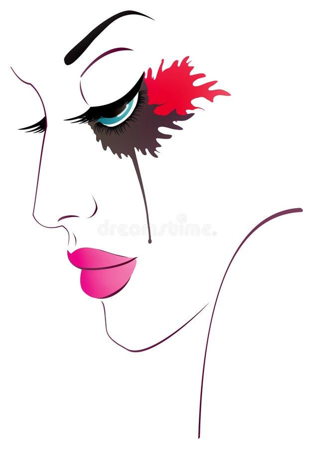 Portret van een droevig meisje vector illustratie