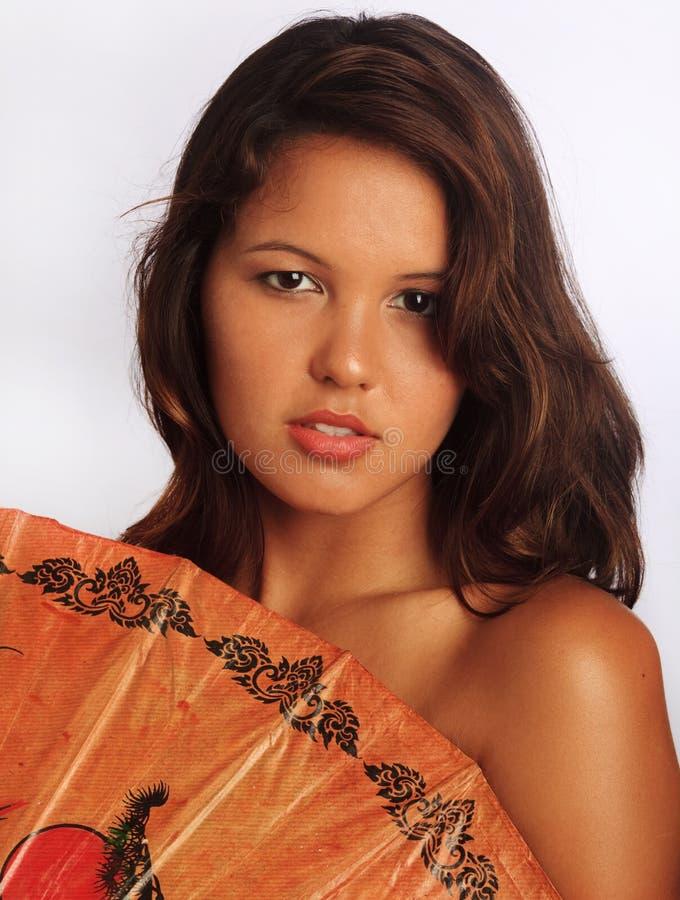Portret van een Europees-Aziatische vrouw stock afbeeldingen