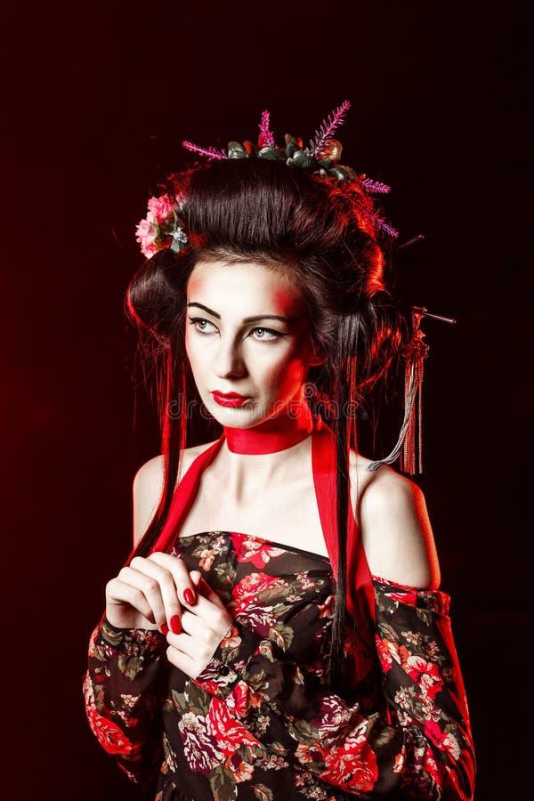 Portret van een Geisha met haar en make-up kabuki royalty-vrije stock foto's