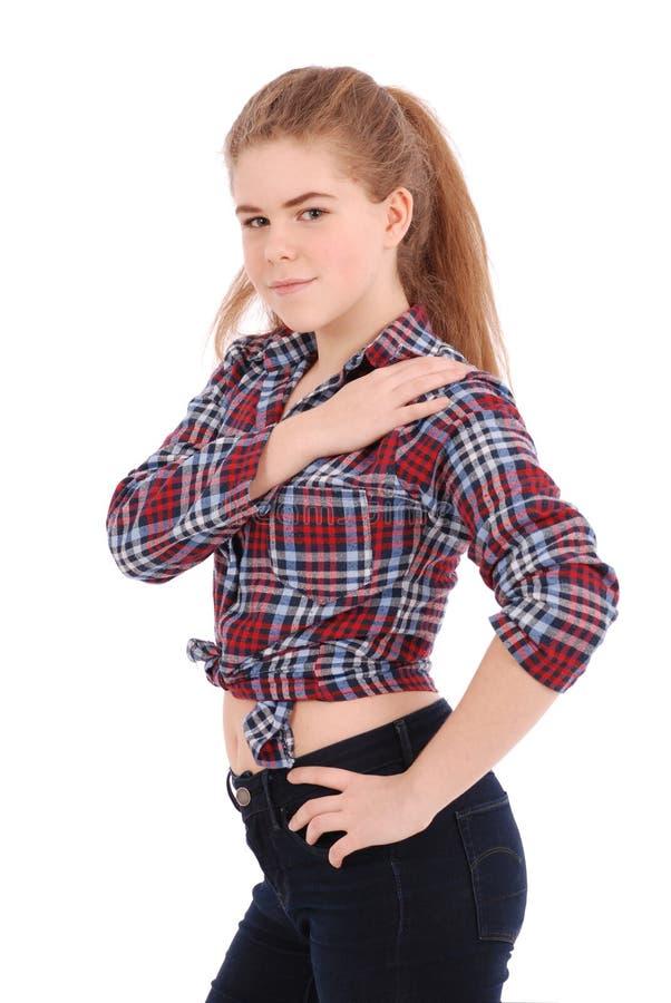 Portret van een gelukkig mooi meisje in plaidoverhemd royalty-vrije stock foto's