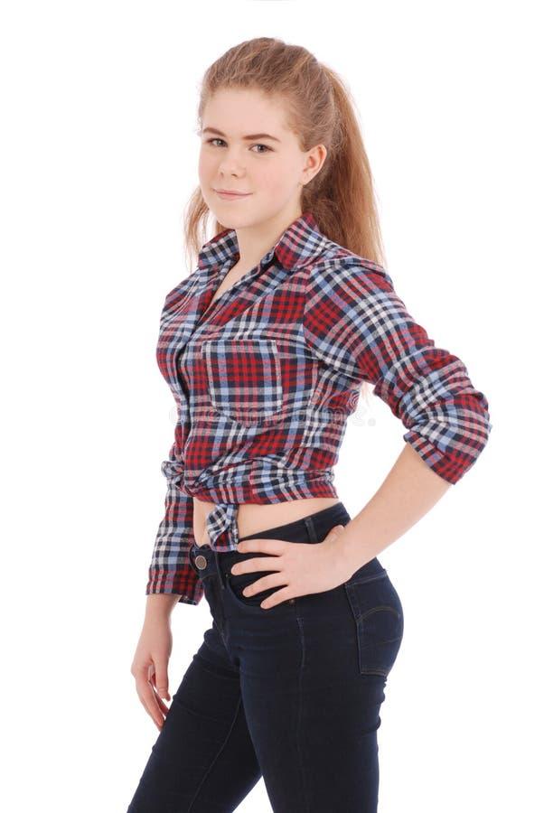 Portret van een gelukkig mooi meisje in plaidoverhemd royalty-vrije stock afbeelding