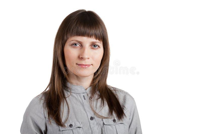 Portret van een gelukkige jonge vrouw stock afbeelding