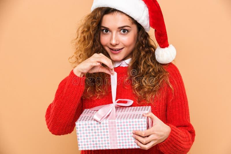 Portret van een glimlachend vrolijk meisje gekleed in santahoed royalty-vrije stock fotografie
