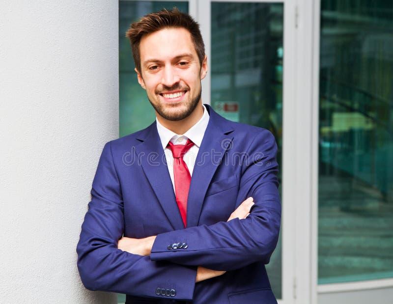 Portret van een glimlachende bedrijfsmens stock afbeelding
