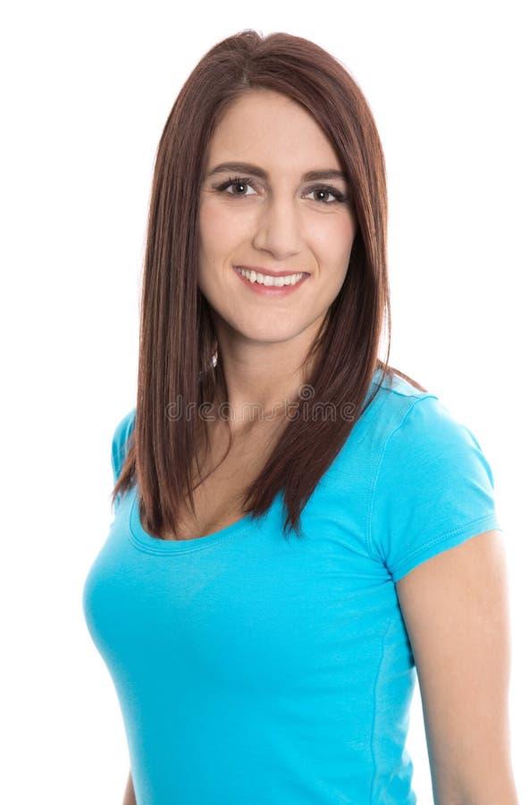 Portret van een glimlachende jonge geïsoleerde vrouw in blauw overhemd royalty-vrije stock afbeeldingen