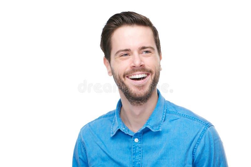 Portret van een glimlachende jonge mens met blauw overhemd royalty-vrije stock foto