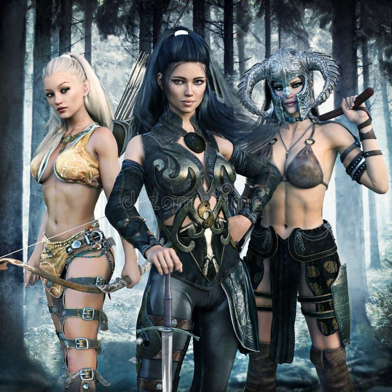 Portret van een groep fantasiewijfjes die een episch avontuur terechtkomen in vector illustratie