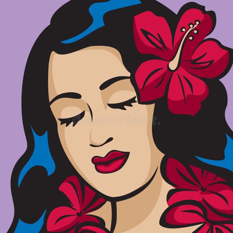Portret van een Hawaiiaans Meisje Hula vector illustratie
