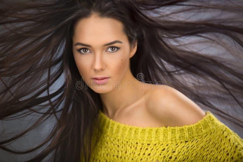 Portret van een het charmeren sexy brunette met lange stromende haarwind stock afbeelding