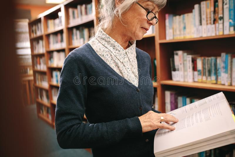 Portret van een hogere vrouw die een boek in bibliotheek lezen stock foto