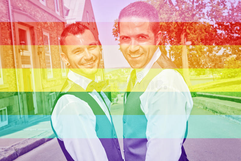 Portret van een houdend van vrolijk mannelijk paar op hun huwelijksdag stock afbeelding