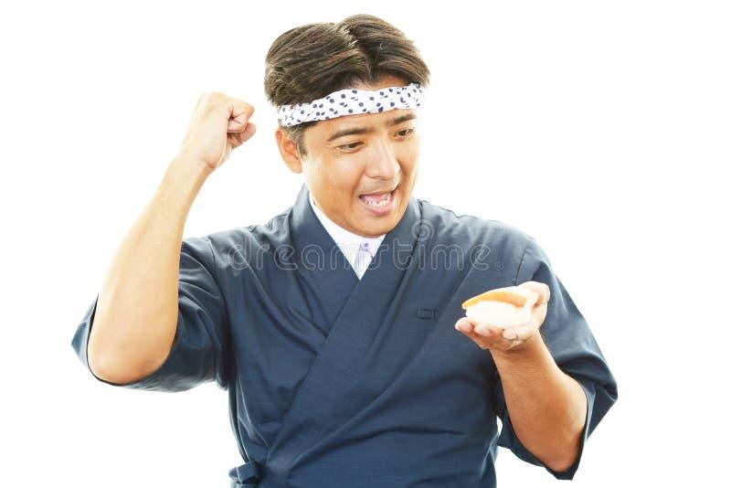 Portret van een Japanse chef-kok royalty-vrije stock afbeelding