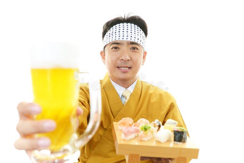 Portret van een Japanse chef-kok royalty-vrije stock afbeeldingen