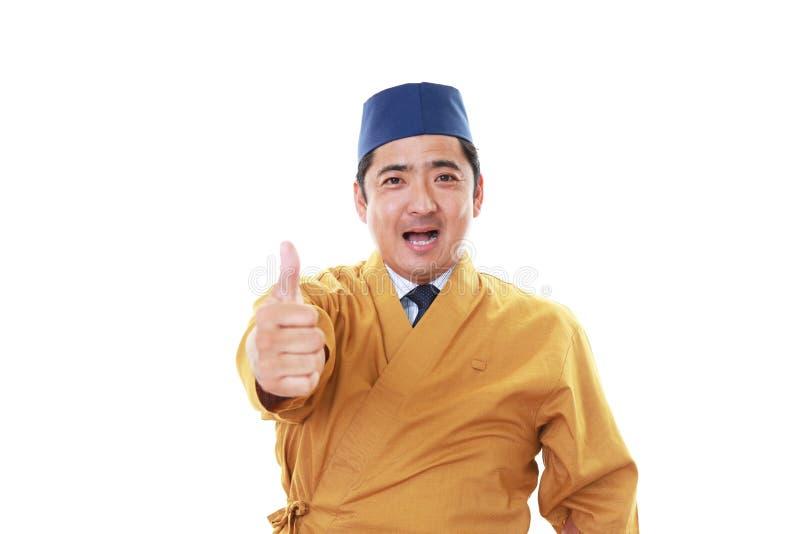 Portret van een Japanse chef-kok stock afbeeldingen