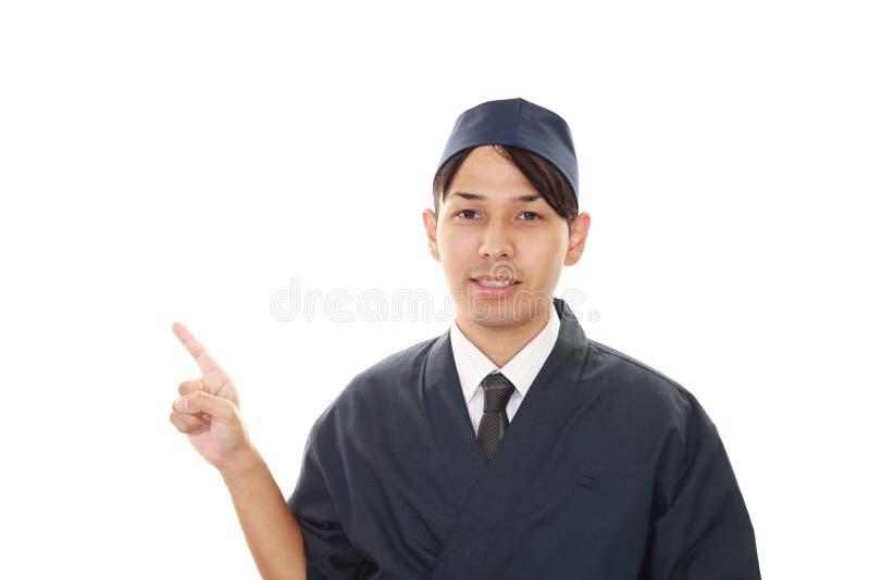 Portret van een Japanse chef-kok stock foto