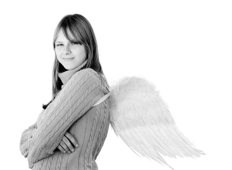 Portret van een jong glimlachend meisje met engelenvleugels royalty-vrije stock foto's