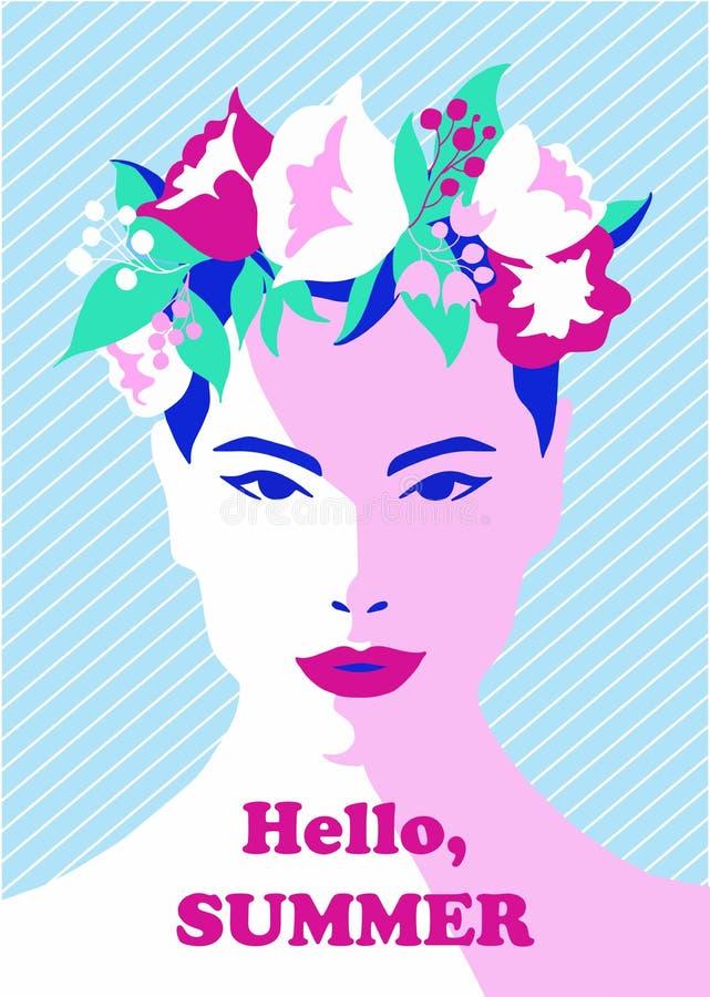 Portret van een jong meisje in de zomer bloemenkroon Hand getrokken gezicht in vector royalty-vrije illustratie