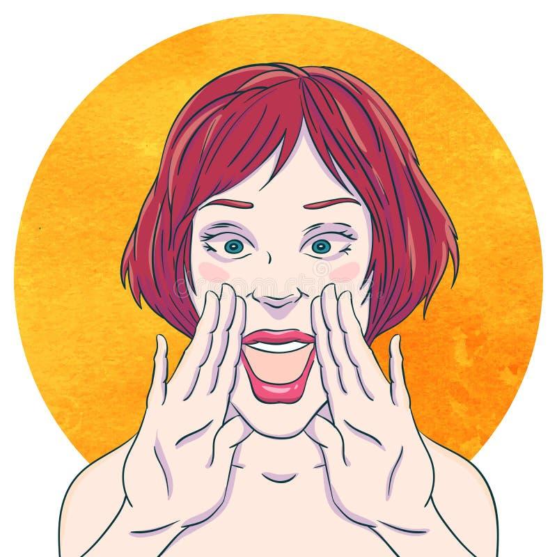 Portret van een jong meisje die met gevouwen handenmondstuk bij de mond schreeuwen vector illustratie