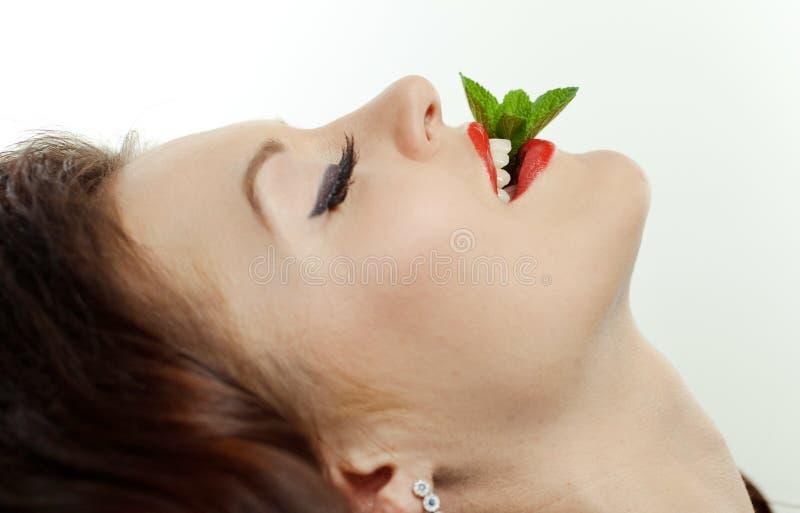 Portret van een jong meisje met pepermunt royalty-vrije stock foto