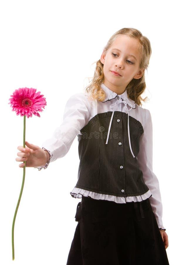 Portret van een jong mooi meisje met bloem royalty-vrije stock afbeeldingen