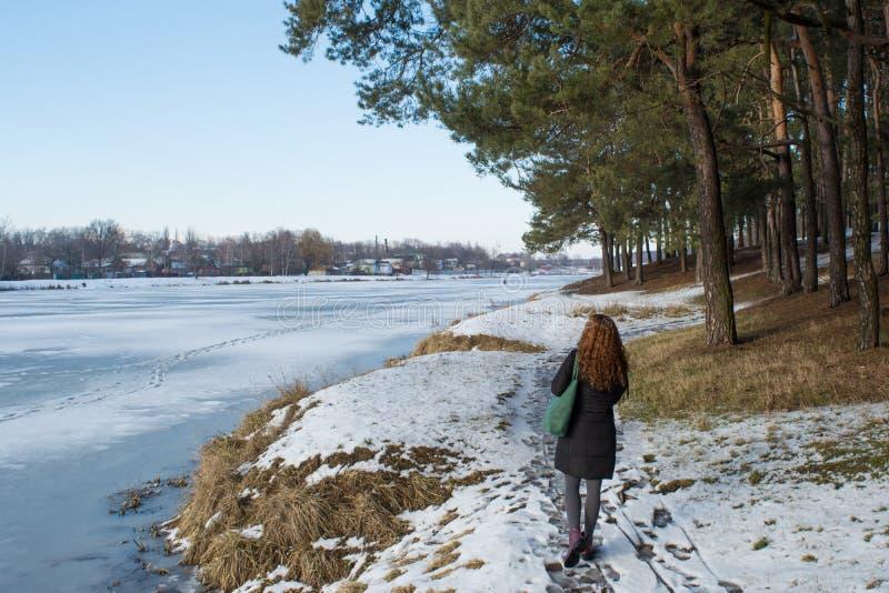 Portret van een jong mooi rood haar Europees meisje die op sneeuwweg in de winterbos lopen royalty-vrije stock foto's