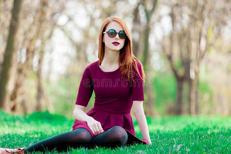 Portret van een jong roodharigemeisje in zonnebril stock foto's
