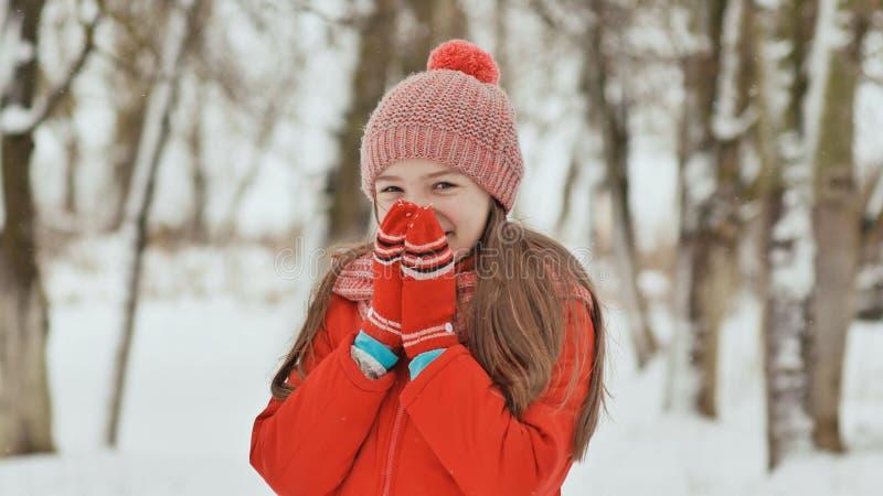 Portret van een jong schoolmeisje met sproeten in het hout in de winter Hij verwarmt van hem indient vuisthandschoenen en toepast stock afbeeldingen