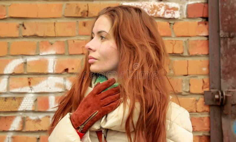 Portret van een jonge bruin-haired vrouw die zich door de bakstenen muur bevinden royalty-vrije stock foto's