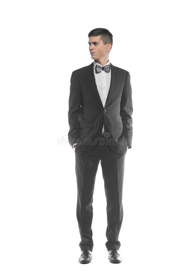 Portret van een jonge die zakenman op witte achtergrond wordt geïsoleerd stock afbeelding