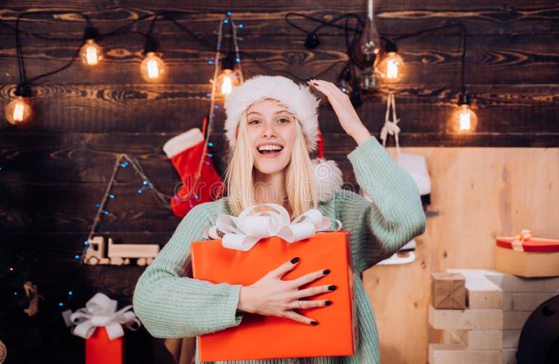 Portret van een jonge glimlachende vrouw Hulst heel swag Kerstmis en noel De gift van het nieuwjaar Kerstmisbinnenland Het model  stock afbeeldingen