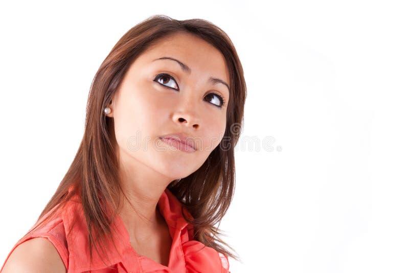 Portret van een jonge mooie Aziatische vrouw die omhoog - Aziatische peo kijken royalty-vrije stock foto's