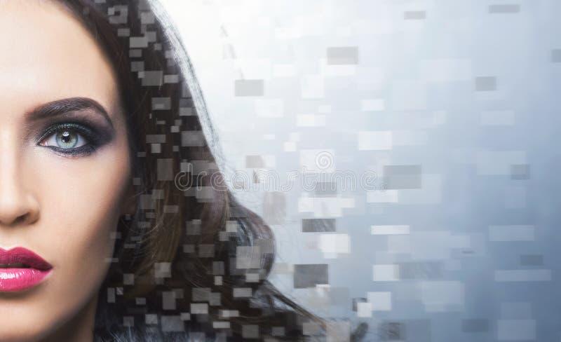 Portret van een jonge mooie vrouw in pixelstijl stock afbeeldingen