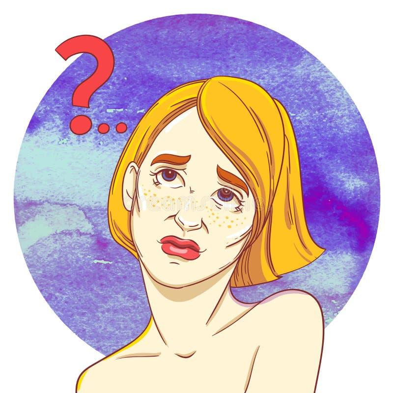 Portret van een jonge roodharige meisjestwijfelaars Vraagteken als waterrimpeling royalty-vrije illustratie