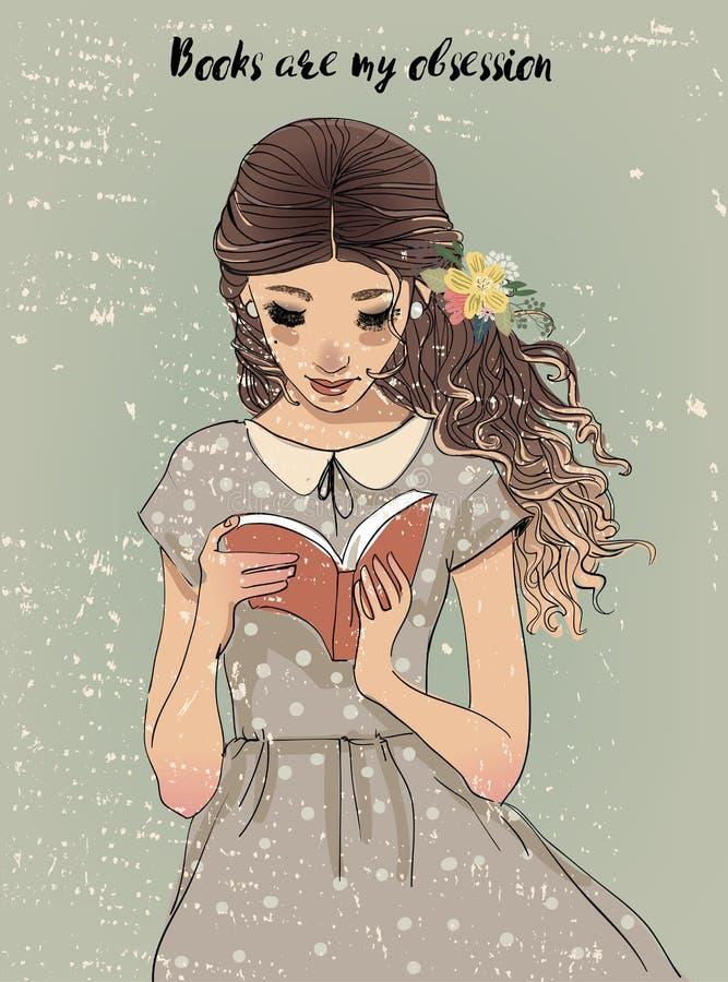 Portret van een jonge vrouw met boek royalty-vrije illustratie