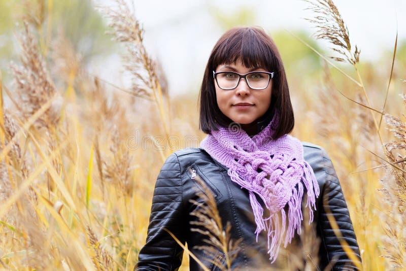 Portret van een jonge vrouw op een de herfstgebied royalty-vrije stock afbeelding