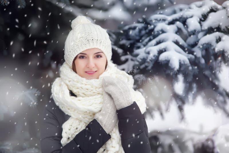 Portret van een jonge vrouw in openlucht onder snovfall stock foto's