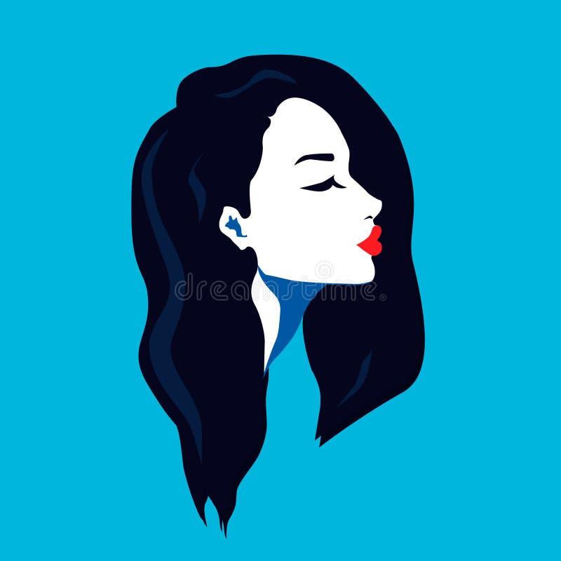 Portret van een jonge vrouw in profiel Lang haar royalty-vrije illustratie