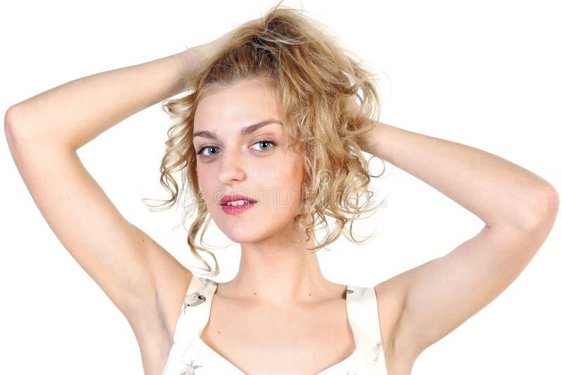 Portret van een jonge vrouw van de blondesensualiteit stock foto