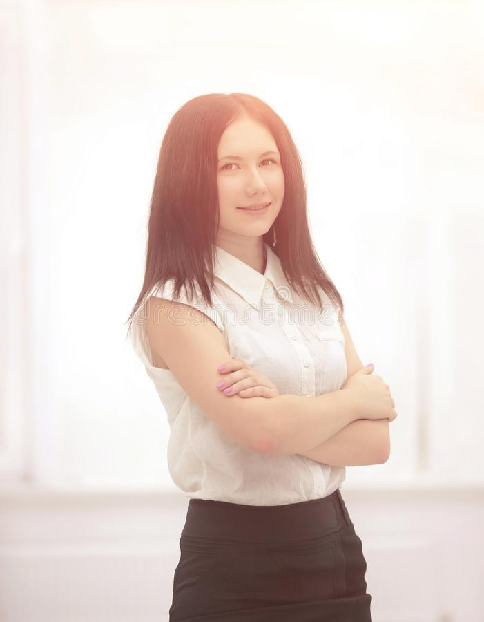 Portret van een jonge werknemer van het bedrijf Foto met exemplaarruimte royalty-vrije stock afbeeldingen