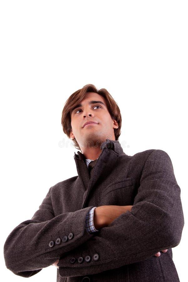 Portret van een jonge zakenman, in de herfst/de winter royalty-vrije stock fotografie